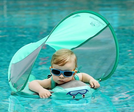 Baby Pool Float Swim Trainer with Sun Canopy