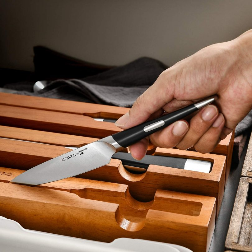 Linoroso Paring Knife with Oak Knife Tray