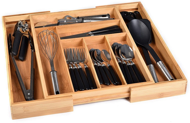 Bamboo Kitchen Drawer Organizer for Utensils and Cutleries