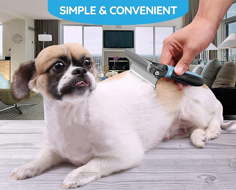 Dual Head Pet Brush Grooming Tool for Deshedding & Tangles Removing