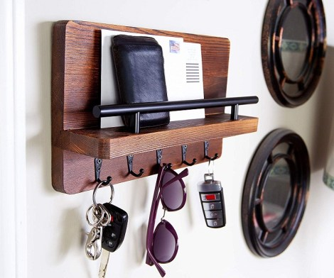 Rustic Decorative Key Holder and Mail Shelf