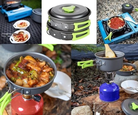 MalloMe 10 Piece Camping Cookware Kit