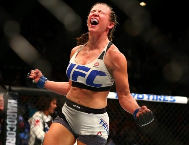 March 5, 2016; Las Vegas, NV, USA; Miesha Tate celebrates her victory by submission against Holly Holm during UFC 196 at MGM Grand Garden Arena. Mandatory Credit: Mark J. Rebilas-USA TODAY Sports