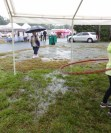 Rain works its way into the tent.