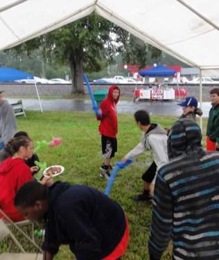 Swordfighting in the mud.