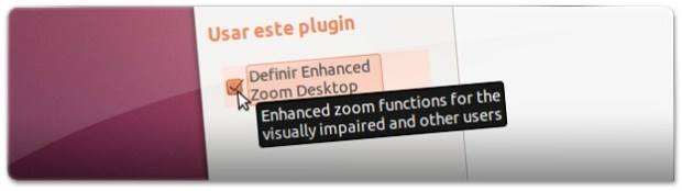 A ativar o plugin do Zoom do Compiz