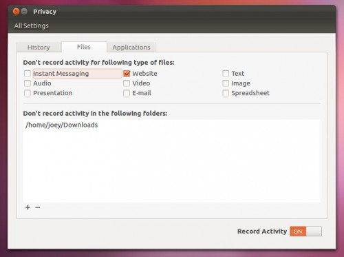 Privacy Setting - Ubuntu 12.04 Beta 1