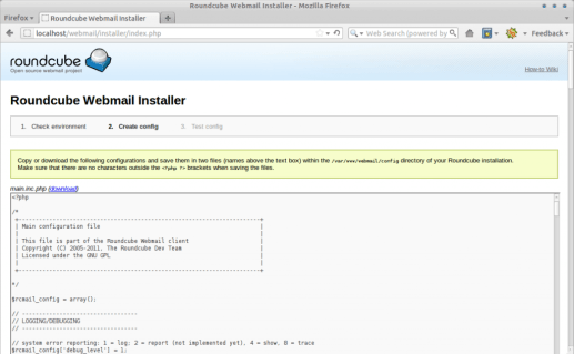 Roundcube Webmail Installer - step 3