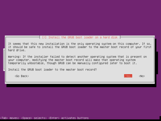 Ubuntu Server 14.04 install boot loader