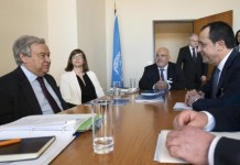 "Cyprus' Foreign Minister Nikos Christodoulides met on Monday with UN Secretary-General, Antonio Guterres, in Geneva, and discussed Turkey's unlawful activities in Cyprus' exclusive economic zone (EEZ), as well as developments in Varosha, the fenced-off part of Famagusta. Speaking after the meeting, Christodoulides also noted that Guterres is ready to move ahead with the process, aiming at a Cyprus settlement, right after April`s ""elections"" in the Turkish-occupied part of the island."