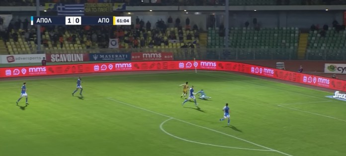 Apollon vs APOEL: Dissecting Dimitris Dimitriou's penalty incident: The game clock reads 61 minutes gone. Your team has just lost the ball after one of your teammates was dispossessed.