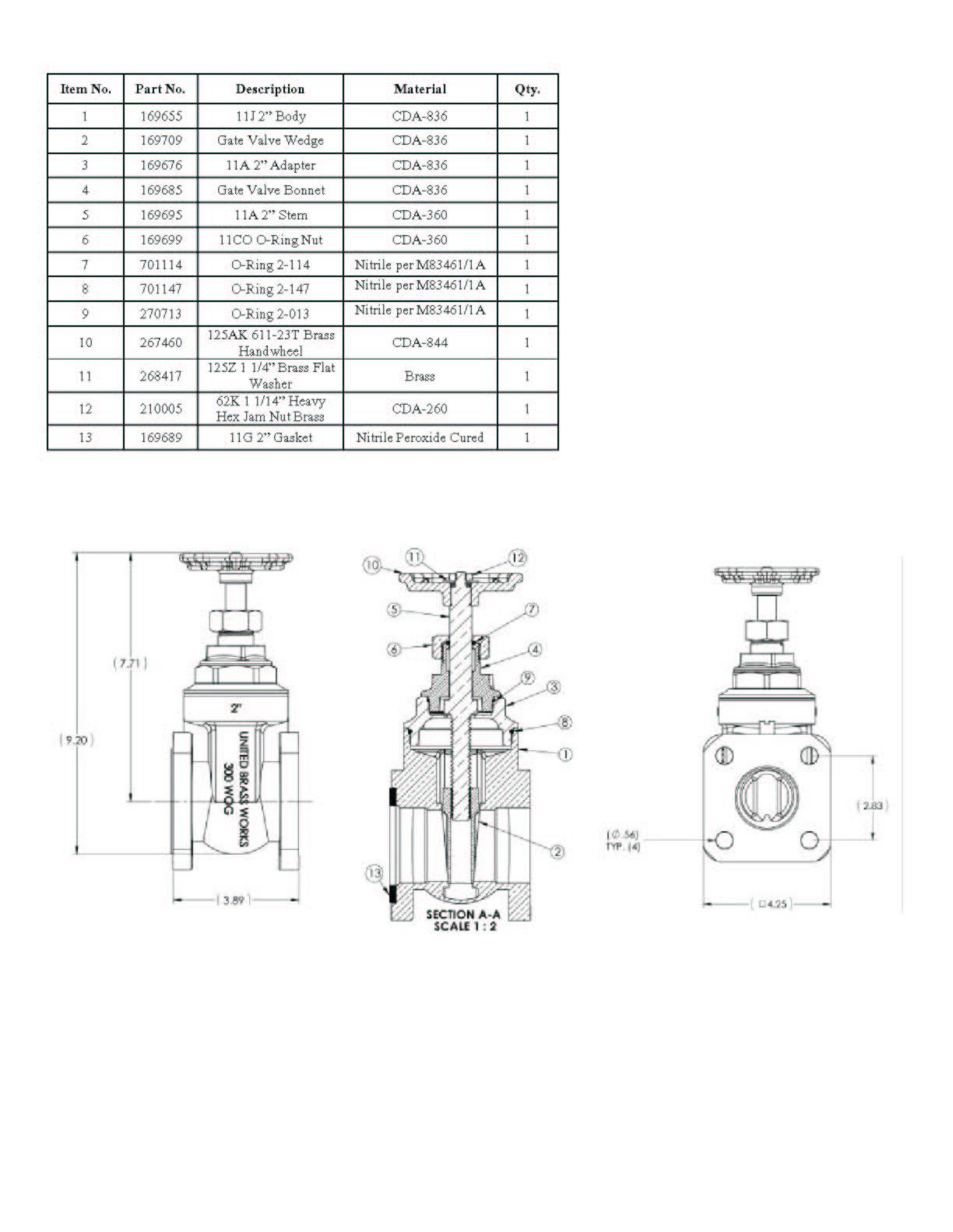 Model 11 2 Flanged Gate Valve On United Brass Works Inc
