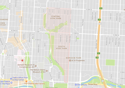 Google map showing Central and South Hyde Park neighborhood boundaries