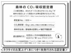 フォレストック認定証(森林のCO2吸収認定書