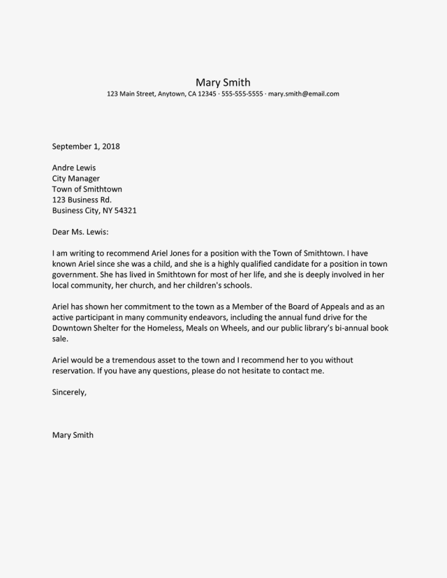 Letter Professional Reference Examples Best Recommendation Letters