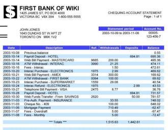 Bank Statement - Source Wikipedia