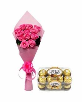 Pink Roses Bunch & Ferrero Rocher Chocolate