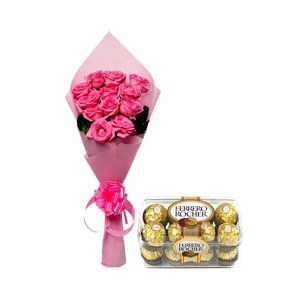Pink Roses Bunch & Ferrero Rocher Chocolate