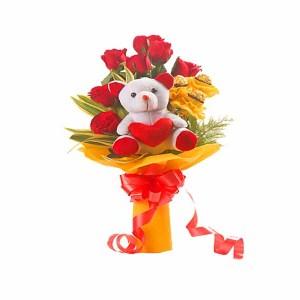 Teddy with Roses & Chocolates Arrangement