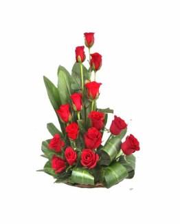 15 Red Roses Basket Arrangement