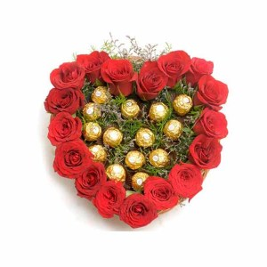 Chocolates with Heart of Roses Arrangement
