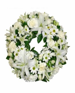 Mix White Flowers Wreath Arrangement