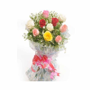 15 Mix Color Roses Hand Bunch