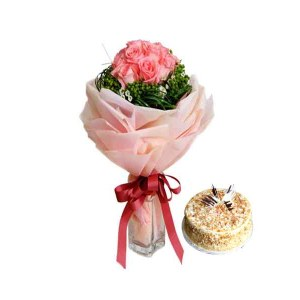 Pink Roses special Hand Bunch with Cake