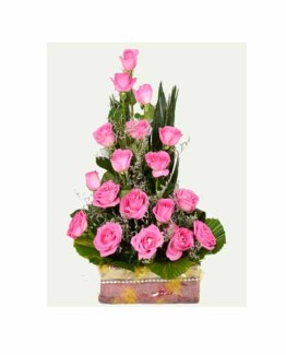 25 Pink Roses Basket Arrangement
