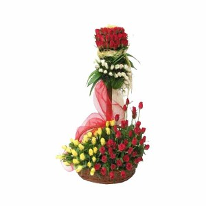 Mix Color Roses Standing Bouquet