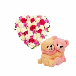 Mix Roses Teddy Heart arrangement