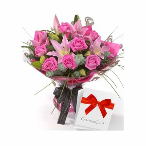 Mix Flowers Hand Bunch with Card
