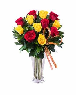 10 Red & Yellow Roses Hand Bunch
