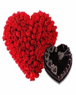 50 Red Roses Heart shape bouquet & Heart Shape Chocolate Cake