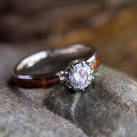 lotus flower engagement ring with moissanite carribean rosewood