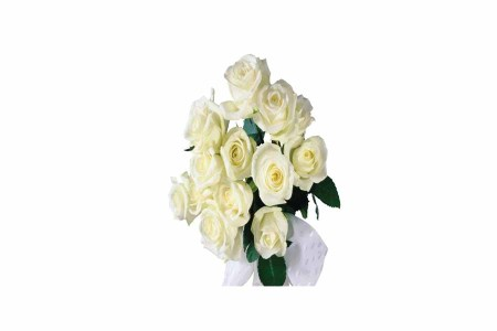 12 White Roses Hand Bunch