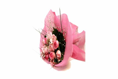 12 Pink Roses with Special Packing