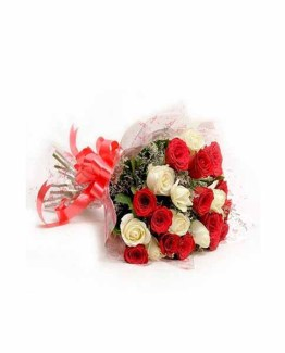 12 Red & White Roses Hand Bunch
