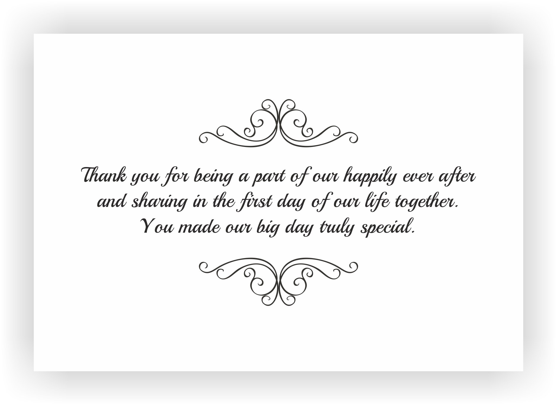 Thank You Note To Accompany Your Wedding Return Gift