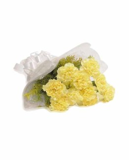 10 Yellow Carnations Hand Bunch