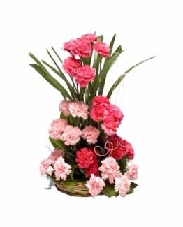 25+ Pink Carnations Basket Arrangement