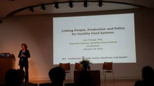 """Dr. Ann Thrupp talked about her vision in """"Linking People, Producers and Policy for Healthy Food Systems"""" at the newly established Berkeley Food Institute at UC Berkeley."""