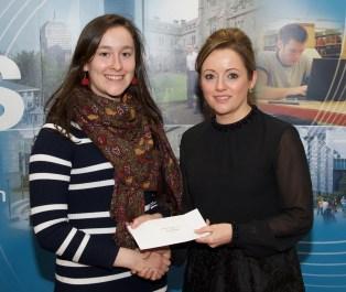 Maria Prendeville receiving her prize from Linda Ryan, Bank of Ireland
