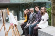 Claire Murphy, Castle Lyons, Lam Hong, Vietnam, Professor Ciarán Murphy, Head of BIS and Dean of CUBS, Sam Kiernan, Limerick and Áine Ring, Ballincollig at the launch of the 19th Annual Business Information Systems (BIS) Anthology, showcasing the creative work of BIS students. The Anthology was launched in The Lewis Glucksman Gallery, UCC on Thursday, March 9th.Picture: Darragh Kane