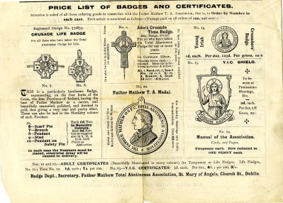 Types of Pioneer Badges available from the Fr Mathew Total Abstinence Association (UCDA P145/182)