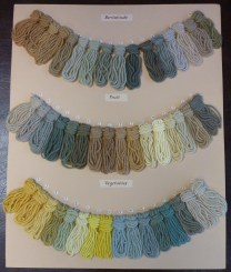Wool samples dyed from berries, fruit and vegetables.