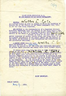 Cole's internment order for Frongoch, 17 May 1918 (UCDA P134/07)