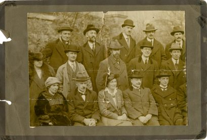 Photo showing half of the Sinn Féin candidates for 1922. Cole is in the back row, second from left (UCDA P134/42)