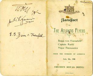 'The Atlantic Flyers' Banquet menu, 5 July 1928 (UCDA P80/456)