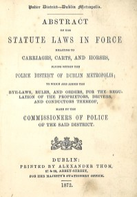 Carriages, Carts and Horses Bye Law 1872